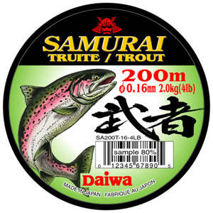 Монолеска Daiwa Samurai Trout  0,18 - 200 M (5238)Монофильные лески<br>Мягкая универсальная леска, серого цвета. Изготовлена из нейлона премиум - класса.<br>