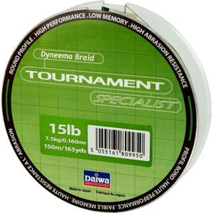 Леска Daiwa Tournament Specialist 150-15 (12772)Плетеные шнуры<br>Зеленая плетеная леска Tournament Specialist отличается высокой износостойкостью и позволяет увидеть поклевку по движению шнура.<br>