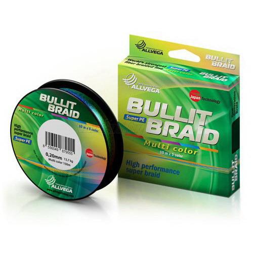 Леска плетеная Allvega Bullit Braid Multi Color 150м #0.14 (53645)Плетеные шнуры<br>Высококачественная леска, сделанная по мировым стандартам и с применением японских технологий. Прекрасное сочетание цены и качества делает ее незаменимым спутником как профессионалов, так и рыболовов - любителей.<br>