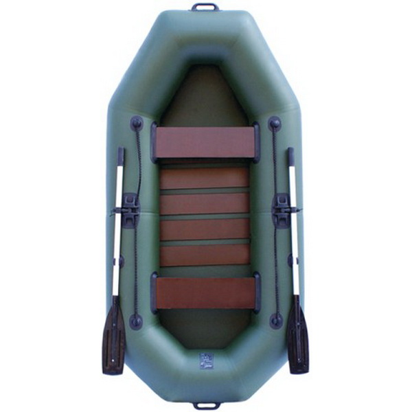 Надувная лодка Нептун К 260 зеленая (коврик-книжка) PRO