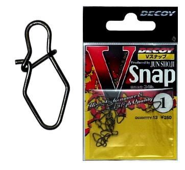 Застежка Decoy V SnapВертлюжки и застежки<br>Decoy V-Snap – застежка-карабин, специально спроектированный для приманок, требующих рывковую проводку, особенно воблеров с нейтральной плавучестью.<br>