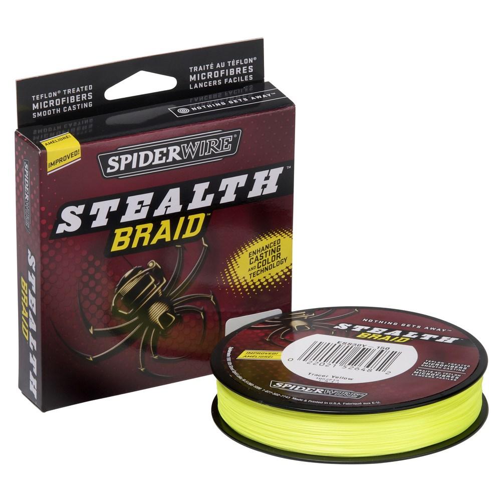 Леска плетеная Spiderwire Stealth Tracer Yellow 137 м, #0.17, 16.5кг (61906)