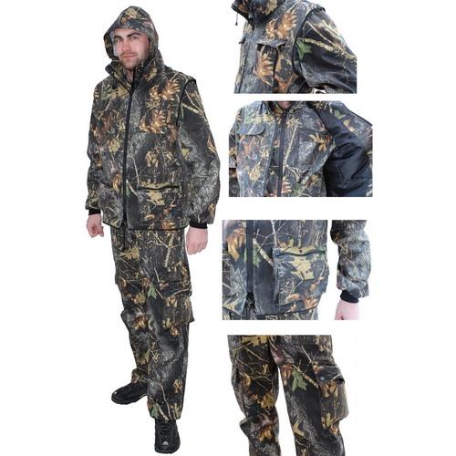 Костюм Алом-Дар унив-ый, Тройка, (Брюки, куртка, жилет) смес.тк. (лес) (р. 44-46) (60417)Костюмы/комбинзоны<br>Прочный и свободный костюм для рыбалки, охоты и активного туризма.<br>