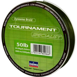 Леска Daiwa Tournament Specialist 300-50 (22985)Плетеные шнуры<br>Зеленая плетеная леска Tournament Specialist отличается высокой износостойкостью и позволяет увидеть поклевку по движению шнура.<br>