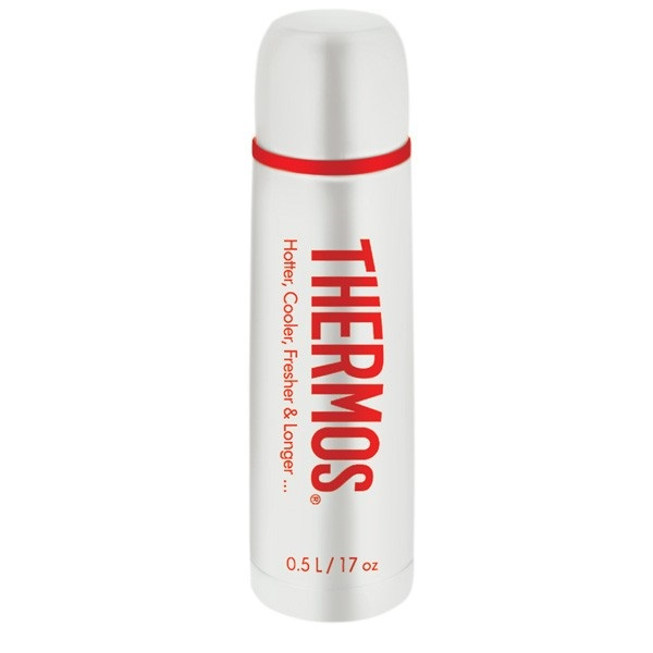 Термос Thermos со стальной колбой Thermos Flask Classic (объём 1 л, цвет белый)Термосы<br>Термос со стальной колбой, объемом 500 мл. Представленная модель термоса будет радовать покупателей не только своим стилем, но и надежностью настоящего термоса от Thermos®, оснащенного винтовой пробкой и работающего 8 часов в режиме «горячее» и 24 часа в ...<br>