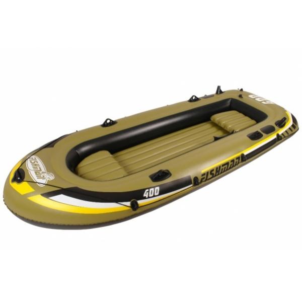Надувная лодка Jilong Fishman 400 Set (2 сиденья) алюм. весла+помпа 340х142х48 темно-зеленыйГребные лодки<br>Лодка надувная Jilong Fishman 400 Boat Set прекрасно подойдет для рыбалки и сплавления по реке. Модель оборудована двухуровневыми сидениями, надувным полом, карманом для хранения различных мелочей и стропой по периметру. Двухкамерная конструкция увеличит ...<br>
