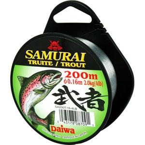Монолеска Daiwa Samurai Trout  0,16 - 200 M (5237)Монофильные лески<br>Мягкая универсальная леска, серого цвета. Изготовлена из нейлона премиум - класса.<br>