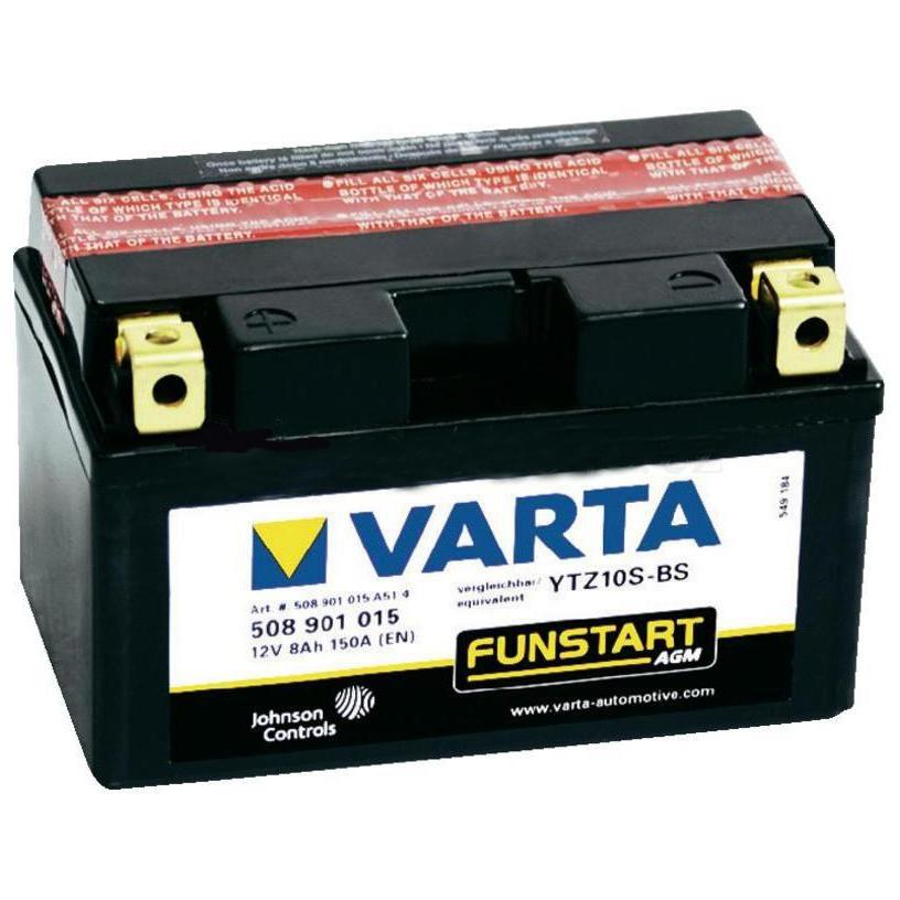 Аккумулятор Varta Funstart (508 901 015) AGM квадро. YTZ10S-BSАккумуляторы<br>Чрезвычайно продолжительный срок службы, абсолютная устойчивость к опрокидыванию и вытеканию при углах наклона до 45° после заливки, а также виброустойчивость.<br>