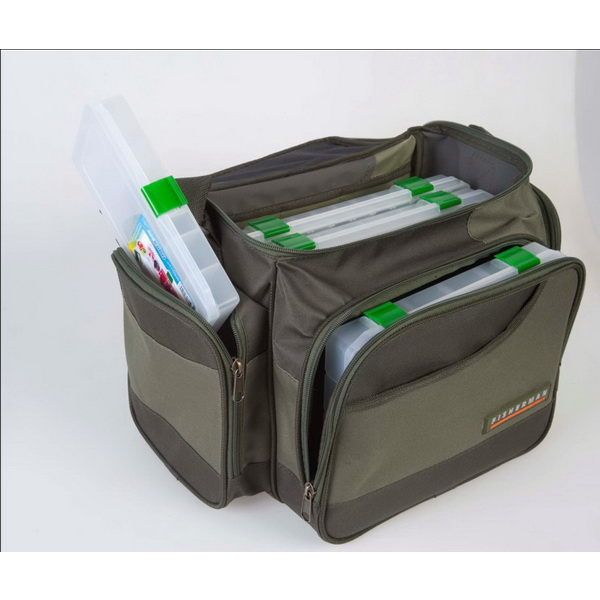 Кофр Fisherman рыболовный с коробками Ф27-кЧехлы<br>Рыболовная сумка, оснащенная высококачественными пластиковыми коробками. В боковые карманы можно вместить чехлы для спиннинговых катушек, а также чехлы для поводков и блесен.<br>