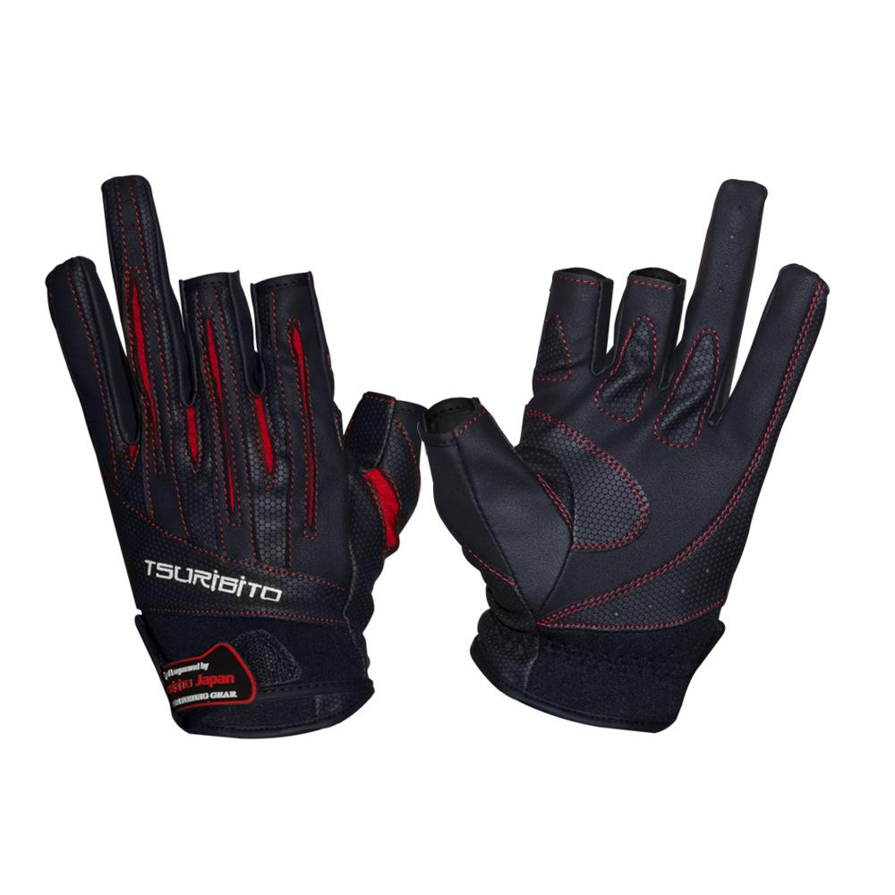 Перчатки рыболовные TSURIBITO LFG-110, цвет черный с краснымВарежки/Перчатки<br>Стильные и практичные рыболовные перчатки Tsuribito незаменимы в промозглую и ветреную погоду.<br><br> <br><br>Эргономичный крой перчаток и использование современных материалов позволило добиться их великолепной посадки на руке. Они прекрасно защищают от переохла...<br>