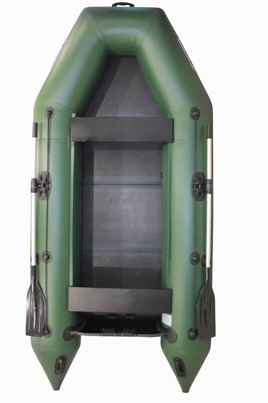 Надувная лодка Нептун КМ 280 зеленая (коврик-книжка) PRO