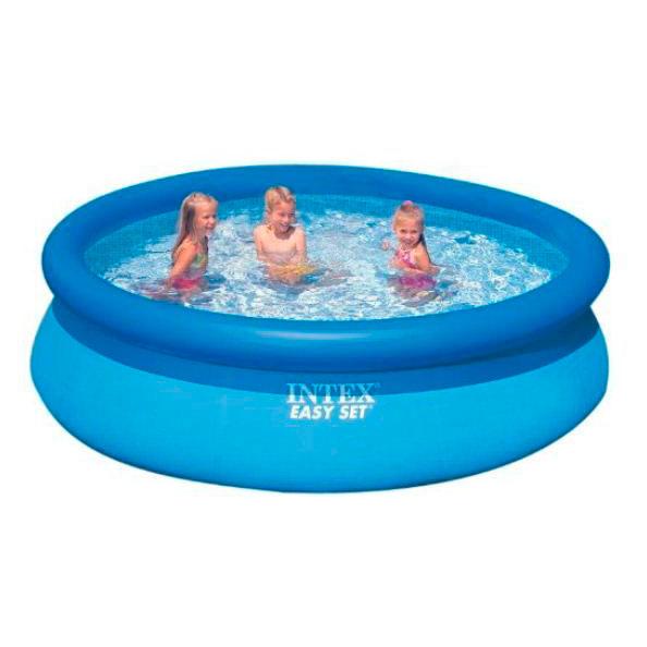 Бассейн Intex надувной Easy Set, 305*76см, 56920Водные аттракционы<br>Бассейн серии Intex Easy Set Pool легко и быстро устанавливается без применения дополнительных технических средств. Процесс сборки бассейна до наполнения его водой занимает всего 10 минут.<br>
