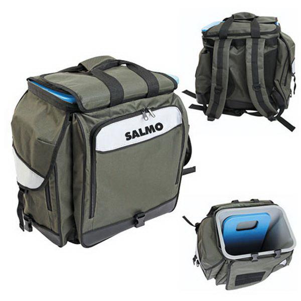 Ящик-рюкзак Salmo рыболов. зим. 61 (из трёх частей) H-2061Ящики<br>Ящик-рюкзак Salmo для зимней рыбалки состоит из: пластикового ящика со съемной крышкой для хранения рыбы; двух боковых карманов, один из которых разделен пополам; вместительного переднего отсека, предназначенного для хранения удочек.<br>