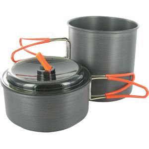 Набор посуды Adrenalin Iron ChiefПосуда туристическая<br>Компактный и легкий набор посуды со складными ручками подходит для приготовления пищи на 1-2 человек, изготовлен из легкого анодированного алюминия. В состав набора входит: большая кастрюля и малая кастрюля, чехол.<br>