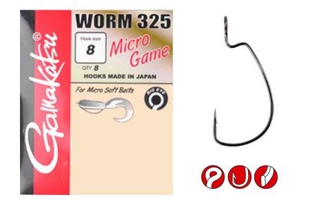 Крючок Gamakatsu Worm 325 Micro GameОфсетные крючки<br>Крючок Gamakatsu Worm 325 Micro Game разрабатывался специально для работы с небольшими силиконовыми приманками. Тонкое цевье не наносит ущерба резине, но при этом обладает достаточным запасом прочности для комфортной ловли.<br>