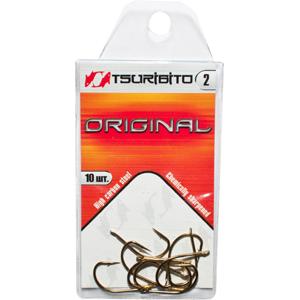 Крючки рыболовные Tsuribito Original №2 (в упак. 10шт.) (BR)Одинарные крючки<br><br>