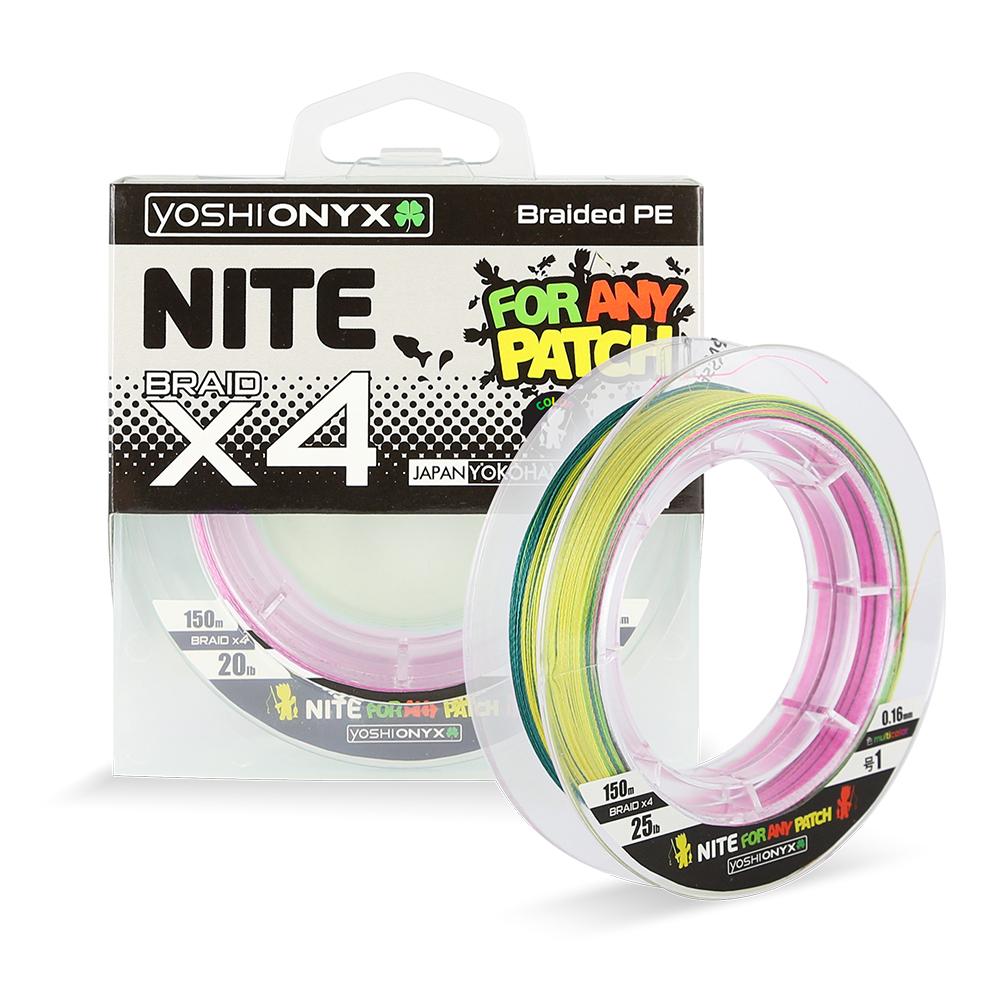 Леска плетеная Yoshi Onyx NITE 4 Multicolor, #2.0 (95439)Плетеные шнуры<br>Плетёные шнуры от Yoshi Onyx – это убедительная  стабильность, стальная прочность и  надёжная износостойкость.<br>