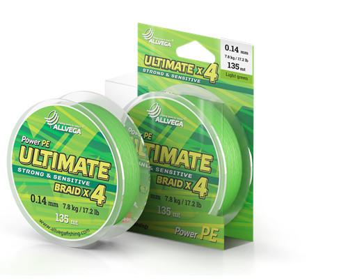Леска плетеная Allvega Ultimate Light green 135 м 0,10 мм (103450)Плетеные шнуры<br>Компания Allvega представляет новый плетеный шнур ULTIMATE. Несмотря на не большую стоимость, плетеный шнур ULTIMATE сохранил все положительные качества бестселлера российского рыболовного рынка - плетеного шнура BULLIT BRAID.<br>