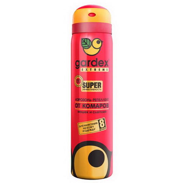 Аэрозоль Gardex Extreme Super от комаров и клещей 80 млРепелленты, аэрозоли<br>Аэрозоль обеспечит эффективную и долговременную защиту от укусов комаров, москитов, мошек, слепней и клещей.<br>