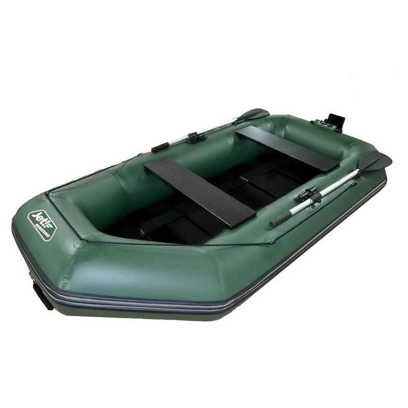 Лодка jet! надувная, модель Murray-2 265 S/L, цвет зеленыйЛодки ПВХ под мотор<br>Гребная лодка JET MURRAY-2 со съемным навесным транцем под мотор небольшой мощности - максимально легкая и удобная в сборке оснащена реечным пайолом, выполняется в зеленом цвете.<br>