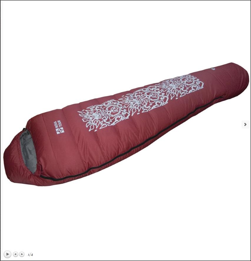 Спальный мешок NovaTour пуховый Тамерлан ВишневыйСпальные мешки<br>Пуховой спальный мешок для экстремальных условий.<br>Все швы спальника выполнены по технологии теплый шов. В модели имеется утепляющая молния, защитная планка,  петли для просушки,  а также полный комплект регулировок.<br>