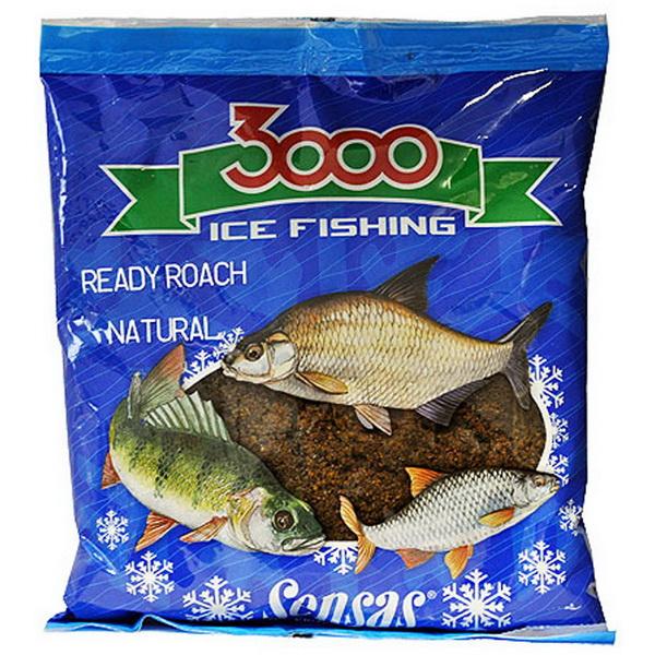 Прикормка Sensas зимняя готовая 3000 Roach Natural 0,5кгПрикормки<br>Увлажненная прикормка для ловли плотвы светло-коричневого цвета насыщена протеинами и маслами.<br>Состав опуская в лунку в виде небольших шариков, быстро рассыпается по дну и привлекает рыбу в зоне ловли.<br>Прикормка предназначена для зимней ловли, не слеживае...<br>