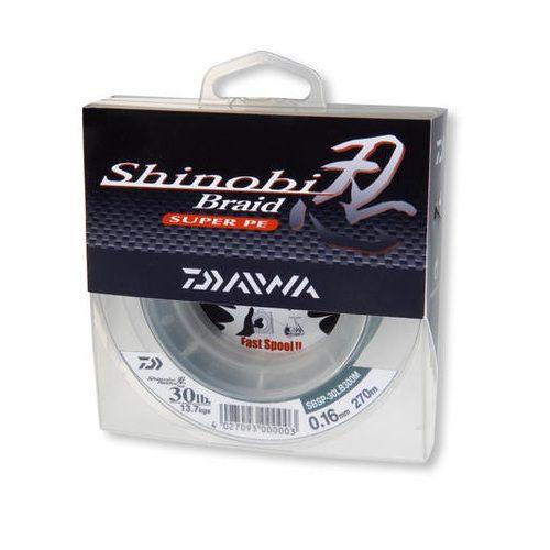 Леска плетеная Daiwa Shinobi Braid SNYB30LB-150YD (57843)Плетеные шнуры<br>Эта модель обладает ультравысокой стойкостью к истиранию, а также невероятно мягка и, благодаря применению новой технологии плетения, имеет малый диаметр и высокую прочность.<br>