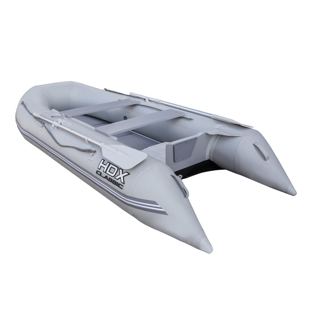 Надувная ПВХ лодка HDX Classic 330 с пайолом, цвет серыйЛодки ПВХ под мотор<br>Многофункциональная модель, сочетающая в себе возможности гребной и моторной лодки одновременно. Ценится за компактность, легкость и простоту в обращении.'<br>