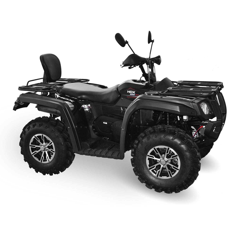 Мотовездеход HDX 650ATV, черныйКвадроциклы<br>Квадроцикл HDX 650XT отличный вариант для опытных квадроциклистов и людей, любящих активный отдых. Обладает всеми необходимыми рабочими характеристиками. Благодаря хорошей проходимости HDX 650XT вы легко проберетесь в гущу леса, преодолев любые преграды.<br>
