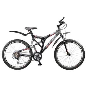 Велосипед Stels AdrenalinВелосипеды Stels<br>Недорогой и надежный двухподвес для тех, кто только открывает для себя мир агрессивного спортивного катания в сложных условиях сильно пересеченной местности. Легкая рама, изготовленная из алюминиевого сплава, отличается малым весом и высокой прочностью.<br>
