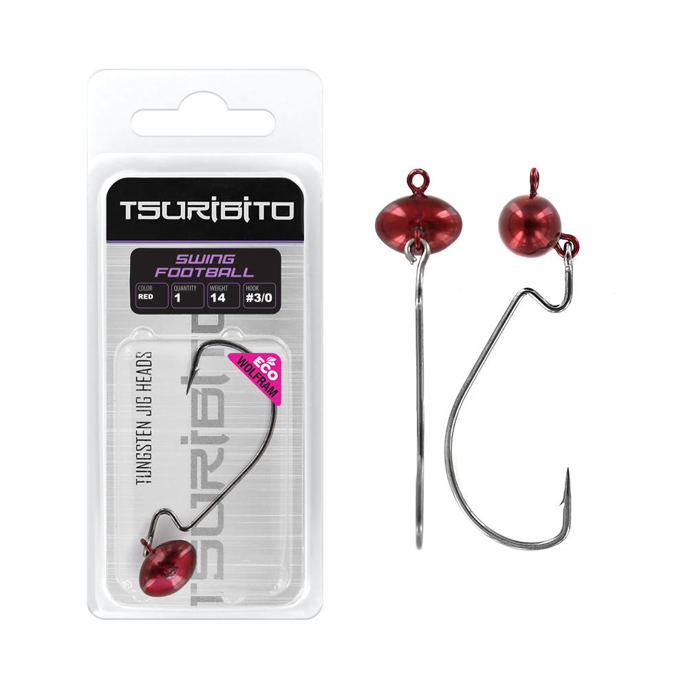 Джигголовка вольфрамовая Tsuribito Tungsten Jig Heads Swing Football, цвет красныйДжигголовки, Чебурашки<br><br>