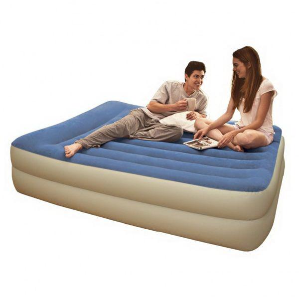Кровать Intex с подголовником 152х203х48смРаскладушки, кровати складные<br>Современная модель двуспальной надувной кровати. Ее главное достоинство - это приятная цветовая гамма, располагающая к уединенному отдыху.<br>
