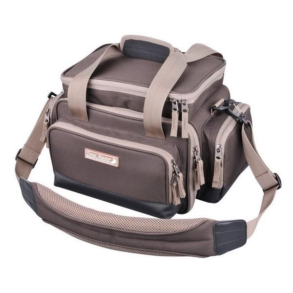 Сумка для снастей Spro Trout Kaster Tackle BagСумки и рюкзаки<br>Сумка для снастей из чрезвычайно прочного нейлона. Сверхпрочные молнии и дополнительно усиленные швы обеспечивают надежную защиту содержимого сумки.<br>
