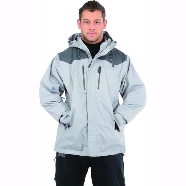 Куртка NovaTour мужская Шторм v.2 M, Светло-серый/темно-серый (63919)Куртки<br>Мембранная куртка с проклеенными швами и подкладкой из сетки. Планка на молнии препятствует задуванию ветра и попаданию влаги внутрь куртки.<br>