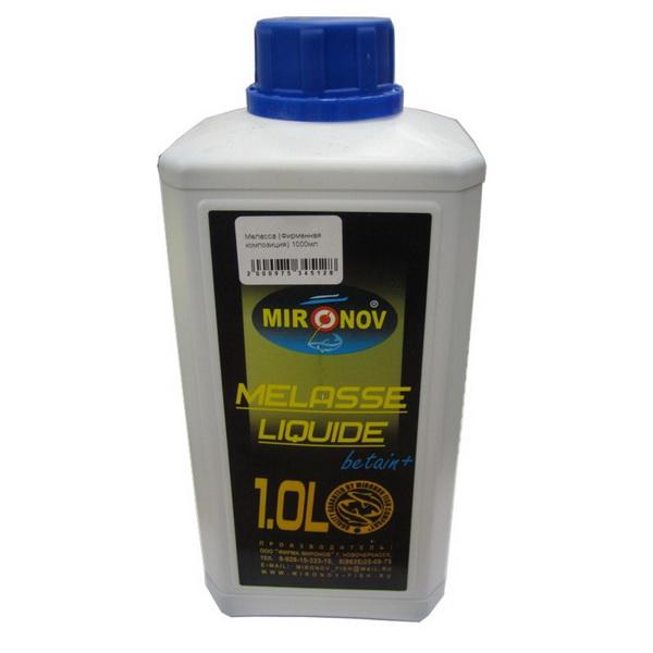 Меласса Миронов (Фирменная композиция, натуральный) 1000 млАроматизаторы / Добавки<br>Густая жидкость темного цвета с сильным сладковатым запахом. Применяется для замачивания частичек пеллетса и изготовления бойлов.<br>