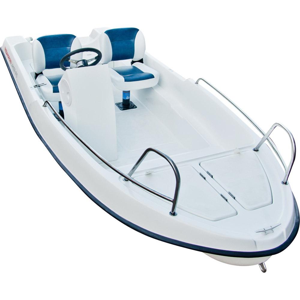 Лодка Laker T410 Console Белый (40054)Стеклоплаcтиковые лодки<br>Легкая, маневренная стеклопластиковая лодка, специально разработана для любителей рыбалки, охоты и активного отдыха. Благодаря своим уникальным обводам, которые сочетают в себе морской V-образный нос, плавно переходящие к тримаранной схеме, лодка имеет ма...<br>