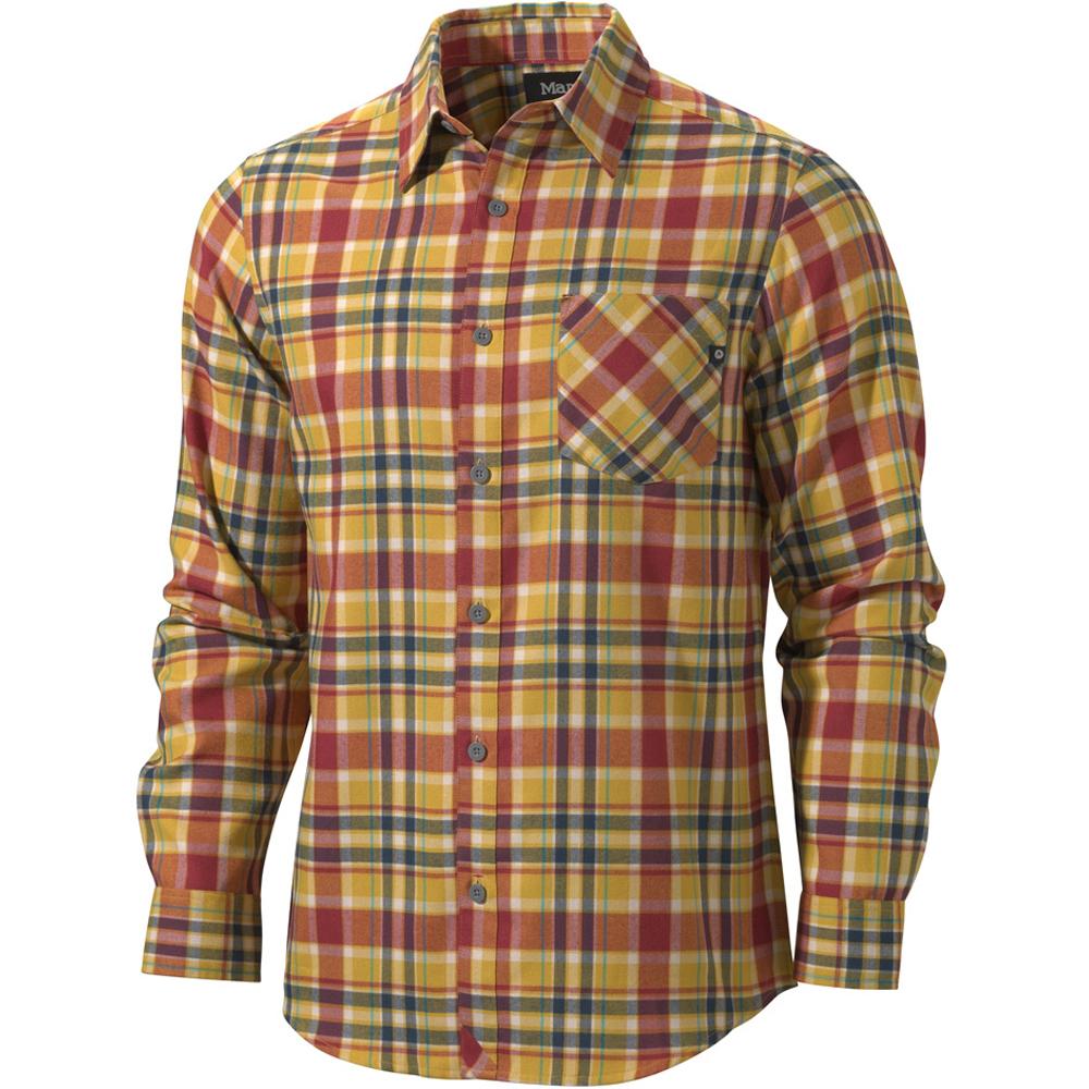 Рубашка Marmot Cliffs Flannel LS, Mustard Yellow, LРубашки<br>Рубашка Marmot Cliffs Flannel LS, Mustard Yellow, L<br><br><br>    <br>  <br><br>Технологичная фланелевая рубашка яркой молодежной расцветки. Ткань обладает диагональной фактурой, в ее составе есть полые волокна для прочности и тепла без увеличения веса. Фактор защит...<br>