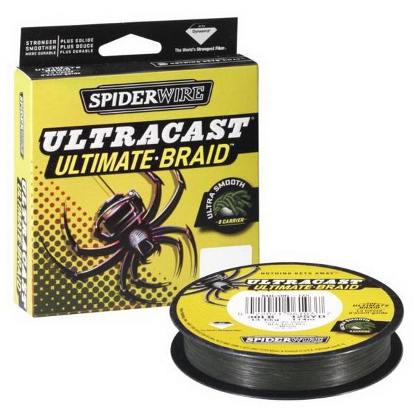 Леска плетеная Spiderwire Ultracast 8 Carrier Lo-Vis Green 270м,  #0.12мм, 9.1кг, 1278849 (73817)
