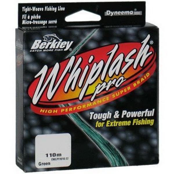 Леска плетеная Berkley Whiplash Pro 110m Green 0,24mm 37.8kg (49461)Плетеные шнуры<br>Плетеная универсальная леска круглого сечения. Выполнена из Micro-Dyneema плоским плотным плетением, что уменьшает трение в кольцах и увеличивает дальность заброса.<br>