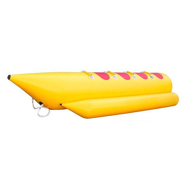 Банан надувной SWORDFISH Banana Tube, четырехместныйВодные аттракционы<br>Трехместный надувной аттракцион представляет собой три надувных баллона в виде труб, соединенных между собой. Изготовлен из высокопрочного материала, покрытого сверху нейлоном, что улучшает скольжение и повышает комфорт для пассажиров.<br>