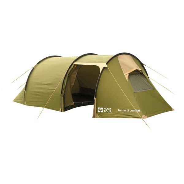 Палатка NovaTour Тоннель 3 комфорт Хаки/бежевыйПалатки<br>Классическая палатка для семейного отдыха с детьми на природе. Ее форма способствует максимально комфортному пребыванию внутри.<br>