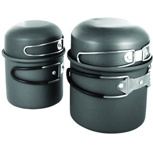 Туристический набор посуды Adrenalin Iron TwinsПосуда туристическая<br>Два походных суперкотла «Железные близнецы» Adrenalin предназначены для приготовления пищи на 2 персоны, изготовлены из жаропрочного анодированного алюминия.<br>