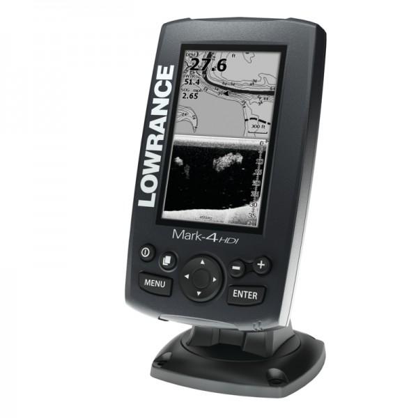 Эхолот LOWRANCE Mark 4 HDIЭхолоты<br>Дисплей: 4,3 (10,92 см), Монохромный, TFT, LED подсветка, 480 x 272 пикселей<br>Максимальная глубина эхолокации: 83/200 kHz = 229 м<br>Излучатель: 83/200 кГц<br>Мощность: Мах. 250 Вт (RMS), 30000 Вт пиковой мощности<br>GPS приемник/антенна: Высокочувствительный ...<br>