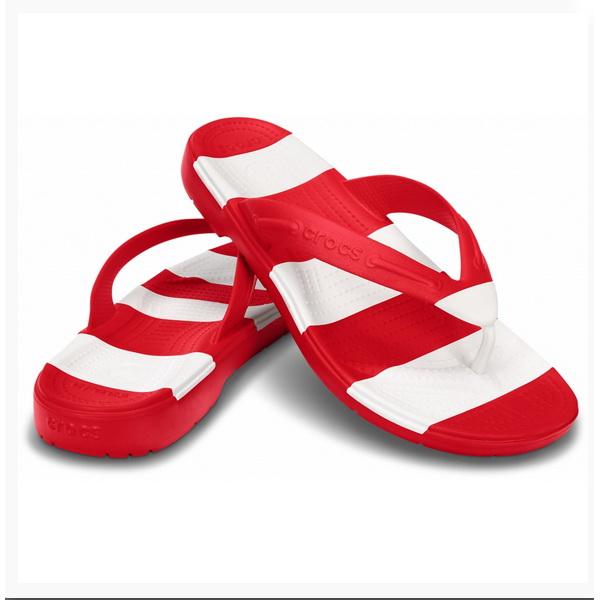 Шлепанцы Crocs Бич Лайн Флип Рэд/Вайт р. 38,5 (M 6/W 8) (76192)Сандалии и сабо<br>Ещё более облегчённый вариант летней обуви сандалии CROCS. По-прежнему лёгкий и комфортный материал Croslite™ плюс вставки из материала ТПУ делают эту модель по-новому стильной.<br>