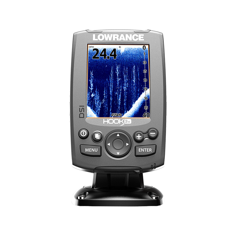 Эхолот Lowrance Hook-3x DSI FishfinderЭхолоты<br>Компактный эхолот Lowrance Hook-3x DSI c функцией нижнего сканирования DownScan Imaging. Эхолот оборудован 3х дюймовым цветным дисплеем высокого разрешения с LED подсветкой. Присутствует встроенный датчик температуры, который поддерживает работу на частот...<br>