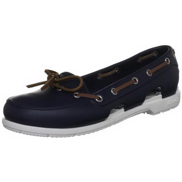 Мокасины Crocs жен. Бич Лайн Боат Рэд/Вайт р.39.5 (W 9) (64829)Мокасины и полуботинки<br>Женская прогулочная модель<br>