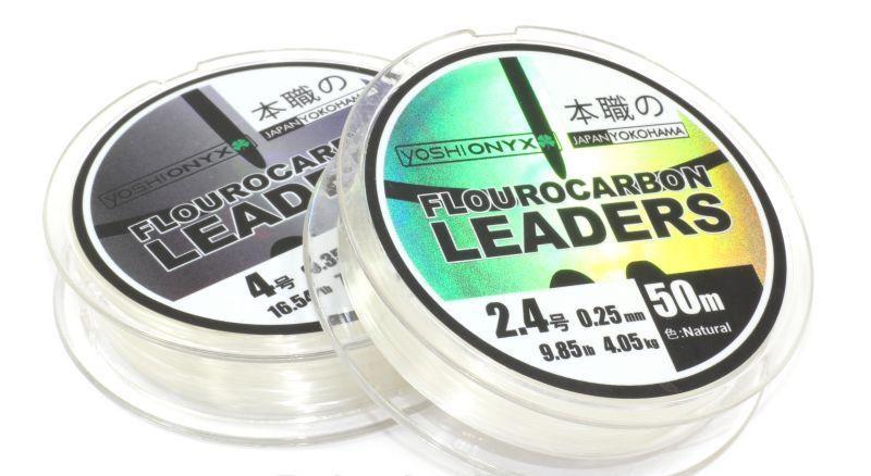 Поводковый материал Yoshi Onyx Fluorocarbon Leader 50м Natural #3,5 (95804)Поводковый материал<br>Yoshi Onyx Fluorocarbon Leader это полноценная флюорокарбоновая леска, предназначена как для намотки на шпулю катушки, так и для монтажа разнообразных оснасток.<br>