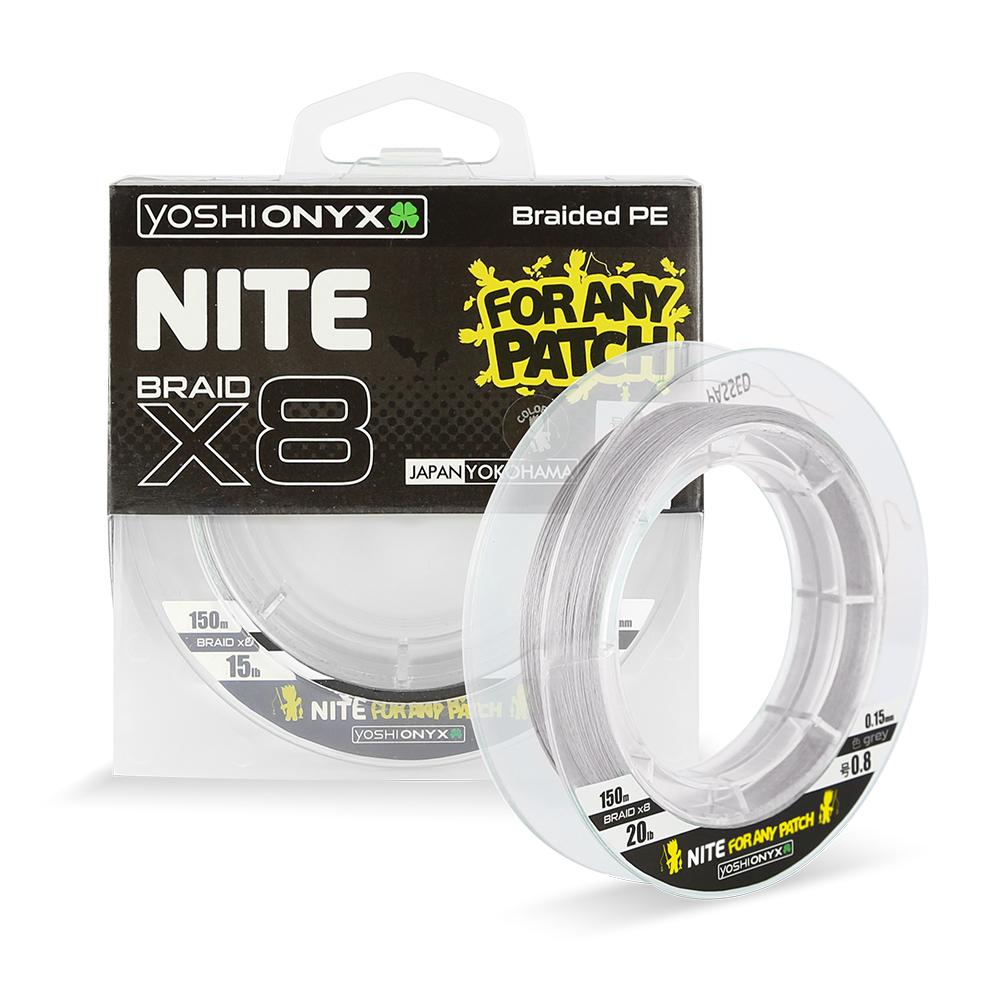 Леска плетеная Yoshi Onyx NITE 8 Grey, #1.0 (95442)Плетеные шнуры<br>Плетёные шнуры от Yoshi Onyx – это убедительная  стабильность, стальная прочность и  надёжная износостойкость.<br>
