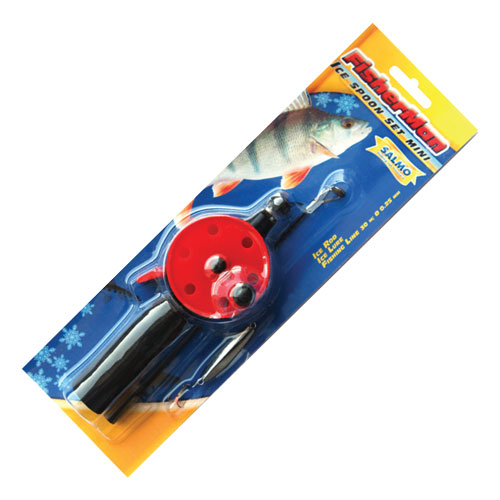 Удочка-комплект зимняя Fisherman Ice Spoon Set Mini S550SET (96697)Удочки зимние<br>Комплект зимней удочки с блесной и намотанной на шпулю леской Fisherman Ice Spoon Set Mini S550SET. Удочка с короткой неопреновой рукояткой, открытой шпулей и клавишным стопором. Хлыстик оснащён металлическим тюльпаном с керамической вставкой.<br>