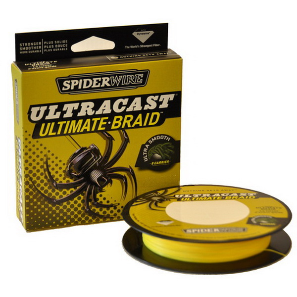 Леска плетеная Spiderwire Ultracast 8 Carrier Hi Vis Yellow 0.2мм, 20.7кг, 270м 1278831 (73824)